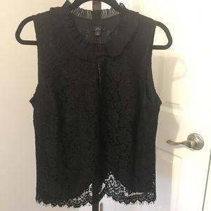 NWT Jcrew black Lace Top L